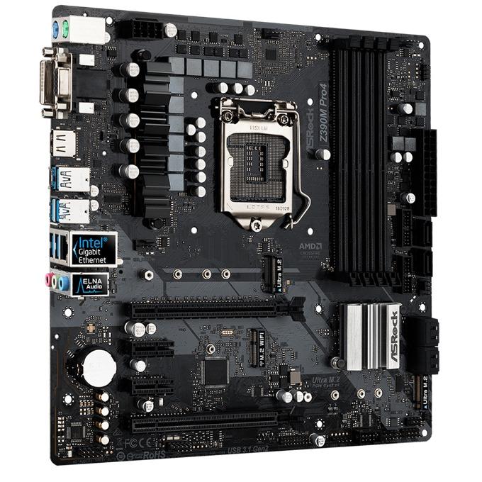 Дънна платка ASRock Z390M Pro4, Z390, LGA1151, DDR4, PCI-Е (HDMI&DVI)(CFX), 6x SATA 6Gb/s, 2x M.2 slot, 1x USB 3.1 (Gen2, Type-A), Micro ATX image