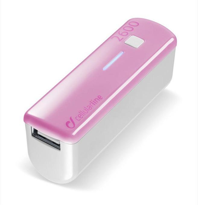 Външна батерия/power bank/ Cellular Line, 2600mA, розова, 1x USB image