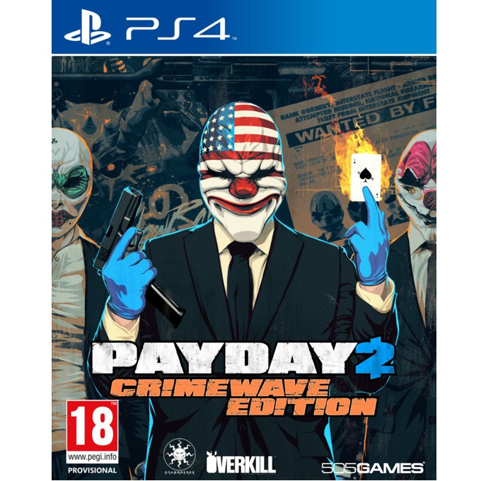 Payday 2 Crimewave Edition, Включва DLC пакетите : Armored Transport Gage Weapon Pack #1, Gage Weapon Pack #2, Gage Mod Courier Pack, Gage Sniper Pack, The Big Bank Heist и други, за PS4 image