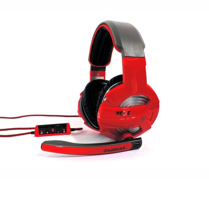 Слушалки Gamdias HEBE GHS2300-USB, червени, микрофон, USB image