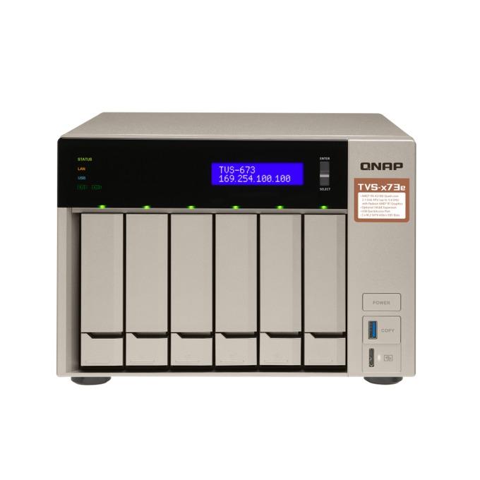 Qnap TVS-673e-4G, четириядрен AMD RX-421BD 2.1/3.4 GHz, 512MB DOM, 6x SATA 6 Gbps, 2x M.2 2260/2280 SATA 6Gb/s SSDs, 4x 1000 LAN, 2x PCIe 3.0 x4, 4x USB 3.0, 2x HDMI, 2x 3.5 mm jacks,  image