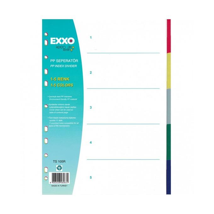 Разделител Exxo, за документи с формат до А4, с пет цветни теми, бял image