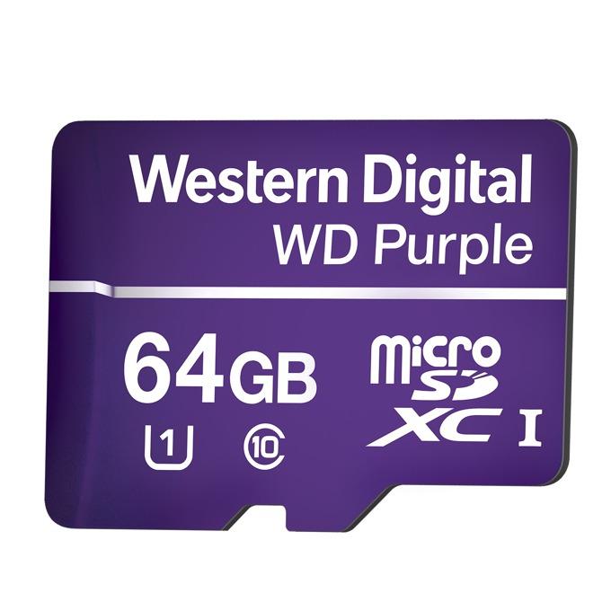 64GB microSDXC, Western Digital Purple, Class 10 UHS-I, скорост на четене 80 MB/Sec, скорост на запис 50 MB/Sec image