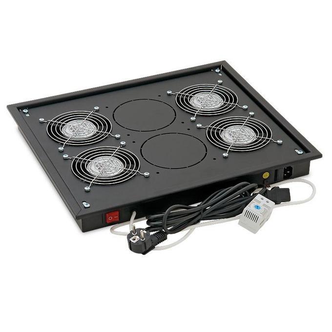 Вентилаторен блок Triton RAB-CH-X04-X3 за свободностоящи шкафове, 4 вентилатора, 60W, термостат, черен image