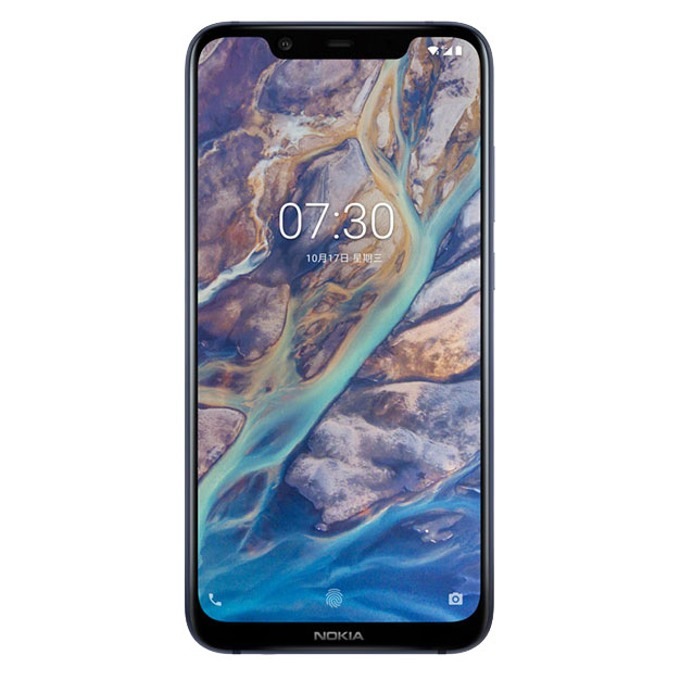 "Nokia 8.1 (син), поддържа 2 sim карти, 6.18"" (15.67 cm) Full HD+ PureDisplay, осемядрен Snapdragon 710 2.2 GHz, 4GB RAM, 64GB Flash памет (+microSD слот), 12.0 + 13.0 MPix & 20 MPix камера, Android 9, 180 g image"