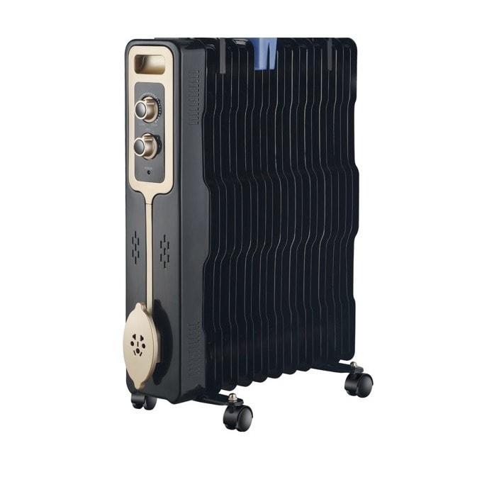 Радиатор Zephyr ZP 1971 G11, 11 ребра, 3 степени, поставка за дрехи, регулируем термостат, 2500W, черен image