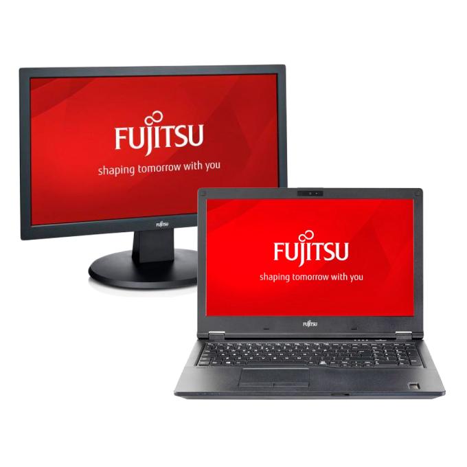 """Лаптоп Fujitsu Lifebook E458(S26391-K474-V100) в комплект с монитор Fujitsu E20T-7, двуядрен Kabylake Intel Core i3-7130U 2.70 GHz, 15.6"""" (39.62 cm) Full HD IPS дисплей(HDMI), 4GB DDR4, 1TB HDD, 1x USB 3.1 Type C, 2x USB 3.1, Windows 10, 2.4kg image"""