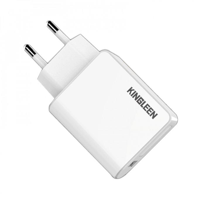 Зарядно устройство Kingleen C867E, от контакт към USB A(ж), 5A, бяло image