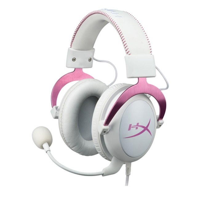 Слушалки Kingston HyperX Cloud II Pink, геймърски, микрофон, бели/розови image