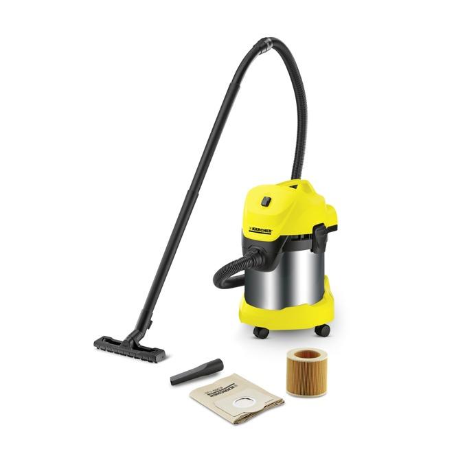 Прахосмукачка Karcher WD 3 Premium, без торба, 1000 W, 17 л. капацитет на контейнера, Kärcher филтър, жълта image
