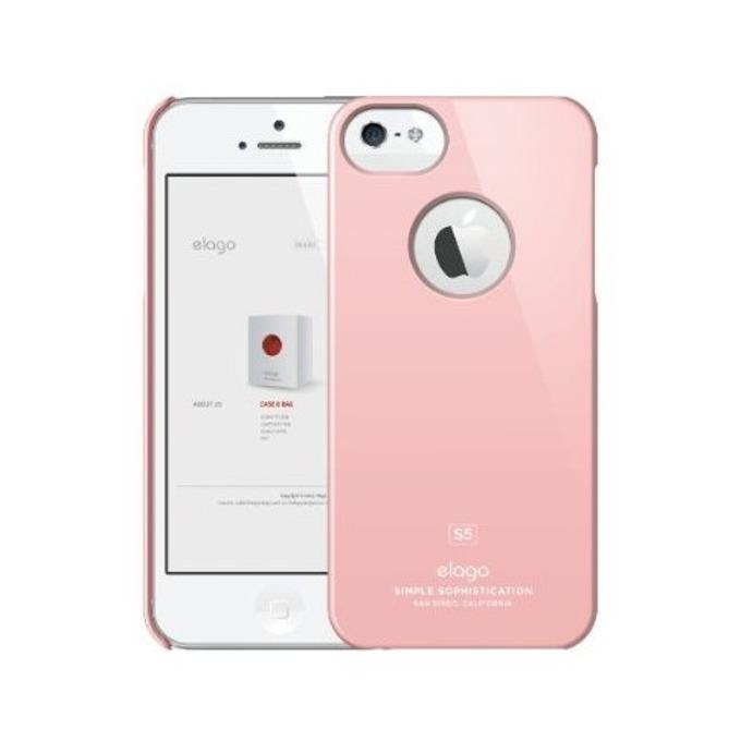 Поликарбонатов протектор Elago S5 Slim Fit Case + HD Clear Film за iPhone 5, iPhone 5S, светлорозов-лъскав, HD покритие image
