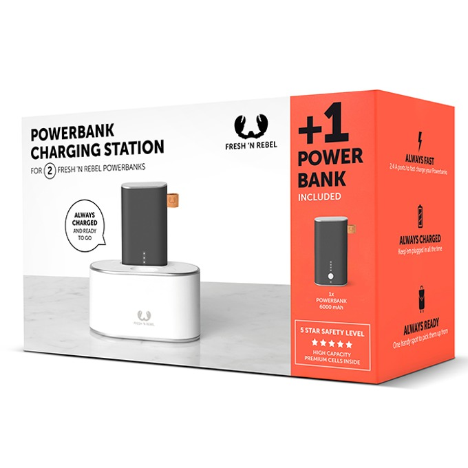Външна батерия /power bank/ Fresh 'n Rebel + Charging Station, 6000 mAh, USB, черна  image