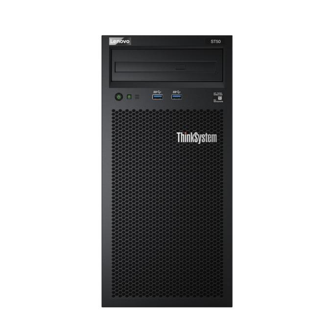 Сървър Lenovo ThinkSystem ST50 Tower (7Y48A007EA), четириядрен Coffee Lake Intel Xeon E-2124G 3.4/4.5 GHz, 8GB DDR4 UDIMM, 2x 2TB HDD, 1x GbE LOM, 2x USB 3.1, без ОС, 250W Platinum PSU image