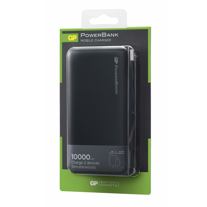 Bъншна батерия/power bank/ GP Batteries RP10AB, 10000 mAh, 5V/2.4A, 2x USB порта, черна image