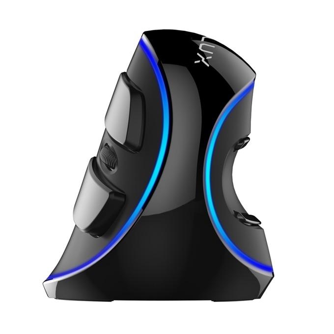 Мишка Delux M618 Plus, оптична(4000dpi), вертикална, USB, синя подсветка, черна image