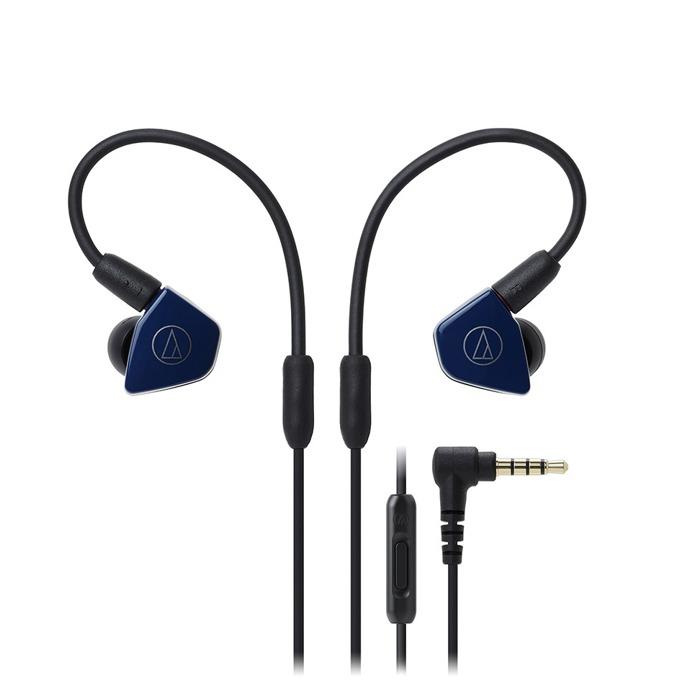 """Слушалки Audio-Technica ATH-LS50iS, тип """"тапи"""", микрофон, сваляеми накрайници, бързи бутони, тъмносини image"""