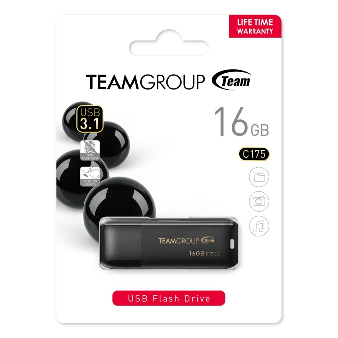 16GB USB Flash Drive, Team Group C175, USB 3.1, черна image