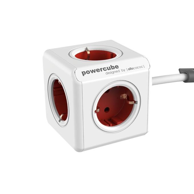Разклонител Allocacoc Power Cube 1300RD, 5 гнезда, лепенка, защита от деца, бял/червен, 1.5 м кабел image