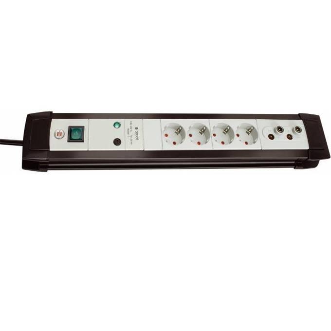 Разклонител Brennenstuhl Premium-line 4x 1.8m, 4 гнезда, ON/OFF ключ, защита от токови удари, 1.8м кабел, черен image
